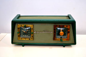Dark Evergreen with Light Green Mesh 1954 Sparton Model 375C AM Tube Radio Real Looker! - [product_type} - Sparton - Retro Radio Farm
