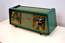 Load image into Gallery viewer, SOLD! - May 21, 2019 - Dark Evergreen with Light Green Mesh 1954 Sparton Model 375C AM Tube Radio Real Looker! - [product_type} - Sparton - Retro Radio Farm