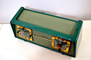 SOLD! - May 21, 2019 - Dark Evergreen with Light Green Mesh 1954 Sparton Model 375C AM Tube Radio Real Looker! - [product_type} - Sparton - Retro Radio Farm