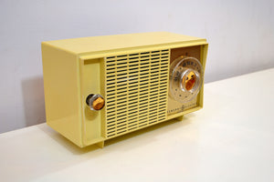 SOLD! - Aug 8, 2019 - Beige Ivory Yellow Vintage 1959 General Electric Model T-129C Tube Radio Nice Sounding Nice Looking! - [product_type} - General Electric - Retro Radio Farm