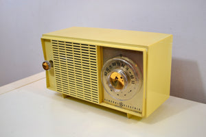 Beige Ivory Yellow Vintage 1959 General Electric Model T-129C Tube Radio Nice Sounding Nice Looking! - [product_type} - General Electric - Retro Radio Farm
