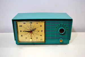 Mediterranean Turquoise Vintage 1956 RCA Victor 6-C-5 Tube AM Clock Radio So Sweet! - [product_type} - RCA Victor - Retro Radio Farm