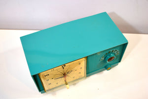 SOLD! - May 12, 2019 - Mediterranean Turquoise Vintage 1956 RCA Victor 6-C-5 Tube AM Clock Radio So Sweet! - [product_type} - RCA Victor - Retro Radio Farm
