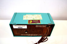 Load image into Gallery viewer, Mediterranean Turquoise Vintage 1956 RCA Victor 6-C-5 Tube AM Clock Radio So Sweet! - [product_type} - RCA Victor - Retro Radio Farm