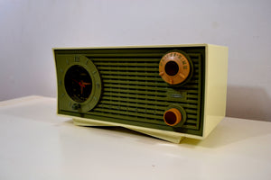 SOLD! - Apr 18, 2019 - Avocado Green and Ivory Vintage 1959 Admiral Y1189 AM Clock Radio - [product_type} - Admiral - Retro Radio Farm