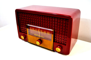 SOLD! - June 17, 2019 - Cranberry Red 1955 RCA Victor Model 5X-564 AM Tube Radio Great Sounding! - [product_type} - RCA Victor - Retro Radio Farm