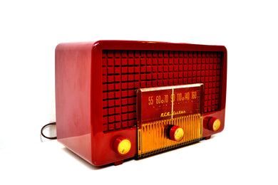 Cranberry Red 1955 RCA Victor Model 5X-564 AM Tube Radio Great Sounding! - [product_type} - RCA Victor - Retro Radio Farm