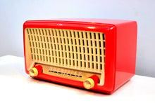 Load image into Gallery viewer, Fiesta Red Post War Industrial Ivory Retro Deco 1951 Wards Airline Model 15BR-1543A Vacuum Tube Radio Real Headturner! - [product_type} - Airline - Retro Radio Farm