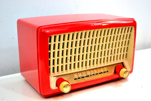 Fiesta Red Post War Industrial Ivory Retro Deco 1951 Wards Airline Model 15BR-1543A Vacuum Tube Radio Real Headturner! - [product_type} - Airline - Retro Radio Farm