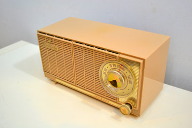 Beige Bombshell Dual Speaker 1960 General Electric Model T-141A Tube Radio Don't Judge A Book By Its Cover! - [product_type} - General Electric - Retro Radio Farm