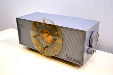 Sundial Grey 1956 Emerson 826 Tube AM Clock Radio Totally Restored and Sounds Great!! - [product_type} - Emerson - Retro Radio Farm