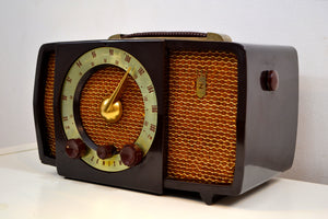 Chocolate Brown Mid Century 1955 Zenith H724 AM/FM Vacuum Tube Radio Popular Model! - [product_type} - Zenith - Retro Radio Farm