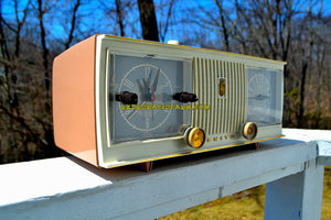 SOLD! - Apr 19, 2018 - TAN PINK and White 1956 Zenith Model C519L AM Tube Clock Radio Works Great! - [product_type} - Zenith - Retro Radio Farm