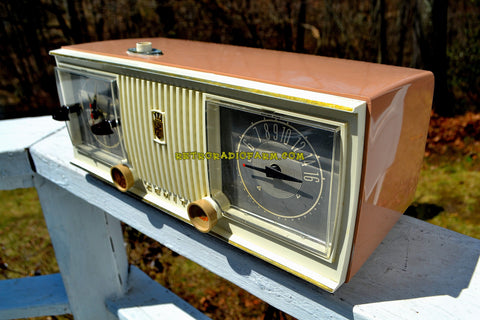 SOLD! - Apr 19, 2018 - TAN PINK and White 1956 Zenith Model C519L AM Tube Clock Radio Works Great!