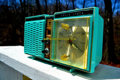 AZURITE BLUE Mid Century 1964 Truetone Model DC2614 Solid State Clock Radio Works Great!