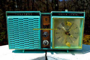 SOLD! - Oct 25, 2018 - Azurite Blue1964 Truetone Model DC2614 Solid State Clock Retro Radio - [product_type} - Truetone - Retro Radio Farm