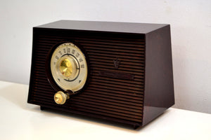 Mahogany Swirl 1956-1958 General Electric Model 875 AM Vacuum Tube Radio Budget Blaster! - [product_type} - General Electric - Retro Radio Farm