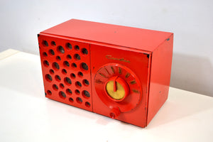 Raconteur Red 1953 Crosley Model JT-3 AM Tube Radio Swiss Cheese Grill, Not Cheesy At All! - [product_type} - Crosley - Retro Radio Farm