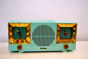 SOLD! - Aug 14, 2019 - Celeste Blue Mid Century 1952 Firestone Model 4-A-127 Vintage AM Radio Absolutely Stunning! - [product_type} - Firestone - Retro Radio Farm