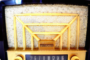Lustrous Brown and Boucle Grill Vintage 1950s Westinghouse H-327T60 AM Radio Looks Snazzy! - [product_type} - Westinghouse - Retro Radio Farm