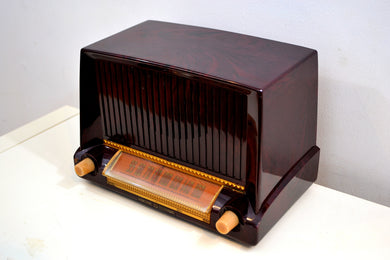 Burgundy Swirl Marble 1953 General Electric Model C453 Musaphonic Vacuum Tube Radio Big Sounding! - [product_type} - General Electric - Retro Radio Farm