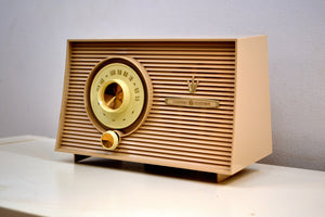 Taupe Beige 1956-1958 General Electric Model 875 AM Vacuum Tube Radio a Little Blaster! - [product_type} - General Electric - Retro Radio Farm