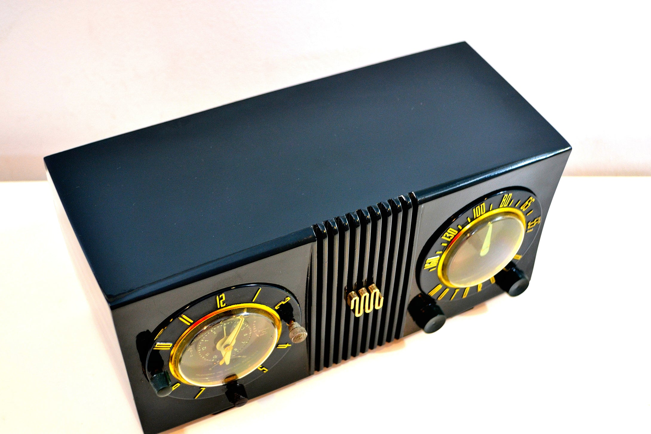 SOLD! - Aug 29, 2019 - Forest Green 1950 Motorola Model 5C4 Tube AM Clock Radio Works Great High Quality Construction! - [product_type} - Motorola - Retro Radio Farm
