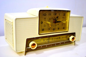 VERSAILLES Ivory and Gold 1959 Philco Model F760-124 Tube AM Clock Radio Bells and Whistles!