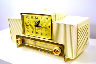 SOLD! - Dec 2, 2019 - VERSAILLES Ivory and Gold 1959 Philco Model F760-124 Tube AM Clock Radio Bells and Whistles!