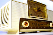 Load image into Gallery viewer, SOLD! - Dec 2, 2019 - VERSAILLES Ivory and Gold 1959 Philco Model F760-124 Tube AM Clock Radio Bells and Whistles! - [product_type} - Philco - Retro Radio Farm