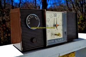 SOLD! - Mar 8, 2019 - Walnut Brown 1964 Zenith Model L513C Tube AM Clock Radio Works Great!