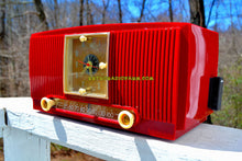 Load image into Gallery viewer, SOLD! - Aug 3, 2018 - BLUETOOTH MP3 Ready - CRIMSON RED Mid Century 1954 General Electric Model 548PH Tube AM Clock Radio Looks Great! - [product_type} - General Electric - Retro Radio Farm