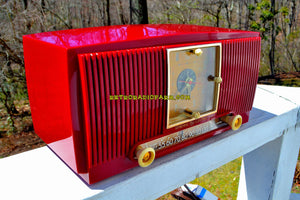 SOLD! - Aug 3, 2018 - BLUETOOTH MP3 Ready - CRIMSON RED Mid Century 1954 General Electric Model 548PH Tube AM Clock Radio Looks Great! - [product_type} - General Electric - Retro Radio Farm