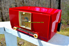 SOLD! - Aug 3, 2018 - BLUETOOTH MP3 Ready - CRIMSON RED Mid Century 1954 General Electric Model 548PH Tube AM Clock Radio Looks Great!