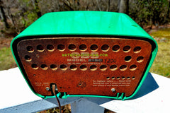 SOLD! - July 26, 2018 - NEVER BEFORE SEEN GREEN 1959 CBS Model T200 AM Tube Radio So Cute! Rare As Heck!