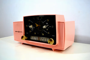 SOLD! - May 3, 2019 - Rose Pink 1959 General Electric Model C-4340 Tube AM Clock Radio Perfect! - [product_type} - General Electric - Retro Radio Farm