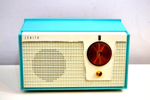 Belair Blue and White 1955 Zenith Model F510 AM Vacuum Tube Radio Excellent Condition! - [product_type} - Zenith - Retro Radio Farm