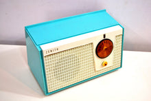 Load image into Gallery viewer, Belair Blue and White 1955 Zenith Model F510 AM Vacuum Tube Radio Excellent Condition! - [product_type} - Zenith - Retro Radio Farm