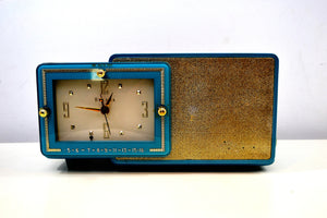 SOLD! - Aug 28, 2019 - Turquoise and Gold 1959 Bulova Model 100 AM Antique Clock Radio Simply Fabulous! - [product_type} - Bulova - Retro Radio Farm