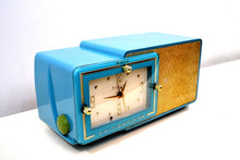 Load image into Gallery viewer, SOLD! - Aug 28, 2019 - Turquoise and Gold 1959 Bulova Model 100 AM Antique Clock Radio Simply Fabulous! - [product_type} - Bulova - Retro Radio Farm