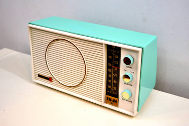 Ocean Breeze Turquoise and White 1963 Olympic Model AFM-20 Tube AM FM Radio Sounds Heavenly! - [product_type} - Olympic - Retro Radio Farm