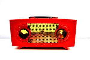 "SOLD! - July 15, 2019 - Fire Engine Red 1955 Zenith ""Broadway"" Model R511F AM Tube Radio - [product_type} - Zenith - Retro Radio Farm"