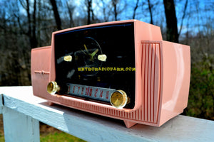 SOLD! - June 4, 2018 - ROSE PINK Mid Century Jetsons 1959 General Electric Model 915 Tube AM Clock Radio Some Issues - [product_type} - General Electric - Retro Radio Farm