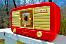 Load image into Gallery viewer, SOLD! - May 7, 2018 - CANDY CANE RED And WHITE 1950 Artone Model 5057 Tube AM Clock Radio Absolutely Spectacular! - [product_type} - Artone - Retro Radio Farm