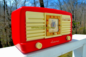 SOLD! - May 7, 2018 - CANDY CANE RED And WHITE 1950 Artone Model 5057 Tube AM Clock Radio Absolutely Spectacular! - [product_type} - Artone - Retro Radio Farm