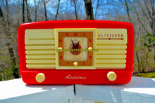 Load image into Gallery viewer, SOLD! - May 7, 2018 - CANDY CANE RED And WHITE 1950 Artone Model 5057 Tube AM Clock Radio Absolutely Spectacular!