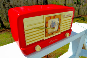 SOLD! - May 7, 2018 - CANDY CANE RED And WHITE 1950 Artone Model 5057 Tube AM Clock Radio Absolutely Spectacular!