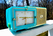 Load image into Gallery viewer, SOLD! - May 13, 2018 - BRIGHT SEAFOAM GREEN Retro Jetsons 1957 Bulova Model 120 Tube AM Clock Radio Excellent Working Condition!