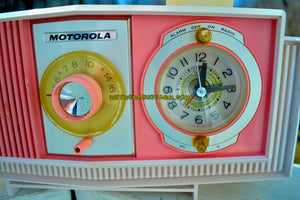 SOLD! - June 3, 2018 - PRETTY IN PINK Mid Century Retro 1963 Motorola Model C19P-23 Tube AM Clock Radio Rare Color!