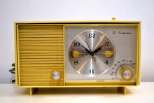 Load image into Gallery viewer, Custard Yellow 1962 Silvertone Model 3037 AM Vacuum Tube Clock Radio Sounds Fantastic! - [product_type} - Silvertone - Retro Radio Farm